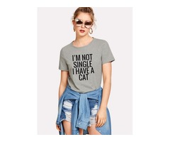 Funny Letter Print I'M NOT SINGLE I HAVE A CAT T-shirt Tops
