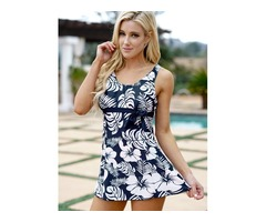 Two Pieces Floral Print Cross Straps Splicing Swimwear
