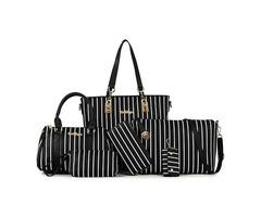 Solid Color Vertical Stripes Bag Set