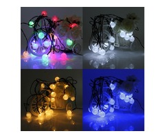 4.8M 20 LED Waterproof Solar Ball Fairy String Lights Xmas Wedding Party Garden Decor