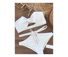 Off the Shoulder Plain Bowknot Highwaist White Bikini Suits
