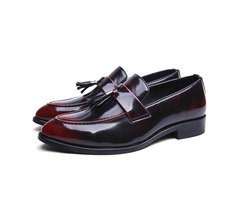 Patent Leather Slip-On Fringe Shoes for Men