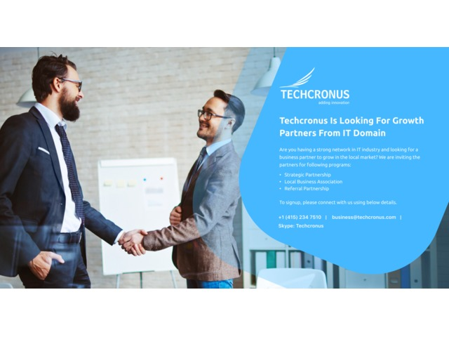 Techcronus Is Looking For Growth Partners From IT Domain | free-classifieds-usa.com