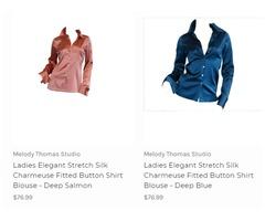 100% Elegant silk shirt blouses for women Online