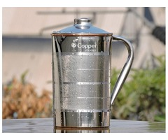 Shop for Steel Outer and Copper Inner Ayurvedic Water Jug – CopperUtensilOnline.com