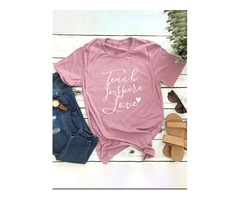 Cute Letter Print Teach Inspire Love Round Neck Short Sleeve Pink Loose Fit T-shirt Cotton Casual To