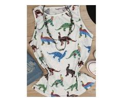 Cute Dinosaur Printed Tank Top Summer Sleeveless Cool Tees