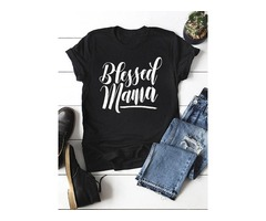 Blessed Mama Letter T-shirt MaMa's Gift Tops