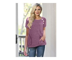 Solid Color Side Buttons T-shirt Tops with Pockets