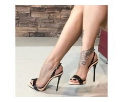 PU Slingback Strap Stiletto Heel Black Sandals