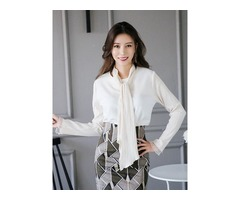 Tie Front Pleated Sleeve Chiffon Blouse