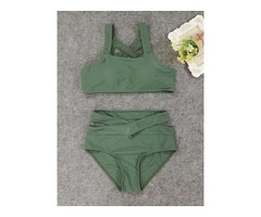 Highwaist Hollow Plain 2-Pcs Bikini Swimsuits