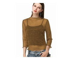 Three-Quarter Sleeve Pullover Womens Blouse