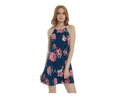 Women's Sleeveless Round Neck Cut Out Back Floral Printed Chiffon A-line Mini Dress