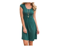 Short Sleeve Round Neck Casual Solid Pleated Midi Dress Smock Dress