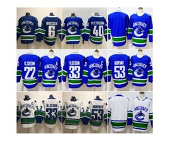 Hockey Vancouver Canucks 40 Elias Pettersson Jersey 53 Bo Horvat 22 Daniel Sedin 33 Henrik Sedin 6 B