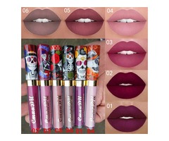 CmaaDu Matte 6 Colors Liquid Lipstick Waterproof and Long-lasting Skull Tupe Lipgloss Makeup Free DH