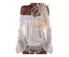 Long Bell Sleeve Off Shoulder Tie Front Cut Out Lace Shirt Top Blouse