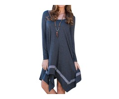 Autumn Irregular Hem Cotton Blended Casual Dress