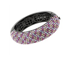 Cobalt Black Bangle Bracelet with Multi-Color Austrian Crystals