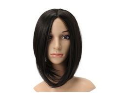 Black Short Straight Heat Temperature Fiber Synthetic Wig Cosplay Hair Party Wigs Women