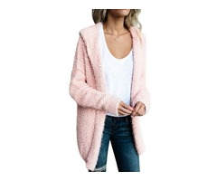 Solid Color Long Sleeve Open Front Cardigan Outerwear with Hoodie Top