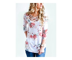 Criss Cross Neck  Shirt Blouse Tops