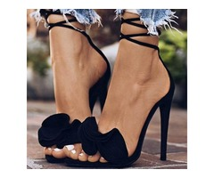 Plain Open Toe Lace-Up Black Heel Sandals