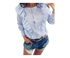 Women's Cute Round Neck Long Sleeve Solid Color Falbala Single-Breasted Blouse Top