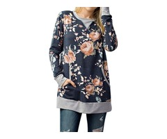 Floral Print Front Pocket Pullover Splice Design Casual Top