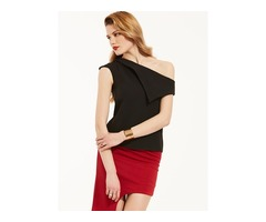 Slim Plain Oblique Collar Blouse