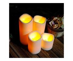 Cylindrical Flickering LED Candle Light Flameless Garden Yard Christmas Lamp Decoration