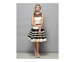 Modern Sheer Neck A-Line Bowknot Knee-Length Cocktail Dress