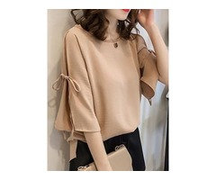 Lace-up Three-Quarter Sleeve Womens Blouse
