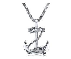 Anchor Pendant Titanium Steel Mens Necklace