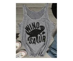 Cute Wino Saur Dinosaur Tank Letter Print Tees Fashion Grey T-shirt