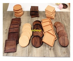 100pcs/lot 8.8cm Beech & Walnut Wood Coasters Wooden Cup Coffee Tea Cup Pads Drinking Mats Teapo