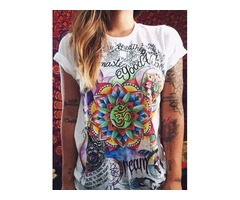 Fashion Women India Namaste Buddha Tribe Print Cotton T-shirt Tops