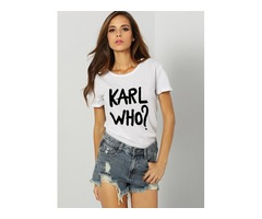 KARL WHO Letter Print Street Fashion Casual T-shirt Tops