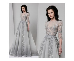 Tony Ward 2017 Silver Long Prom Dresses Luxury Beads Appliqued Jewel Neckline Evening Gowns Sequins