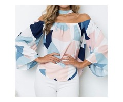 Trumpet Sleeve Sexy Off Shoulder Geometry Print Top Shirt Blouse