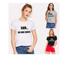 T-shirt 1-800-AGUSTD Letter Print Fashion Casual Summer Top