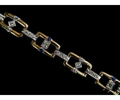 18kt Diamond Link Bracelet for Men - Antique Jewelry
