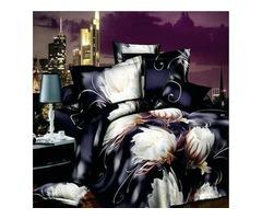4pcs Suit Polyester Fiber 3D Epiphyllum Reactive Dyeing Bedding Sets Queen King Size