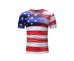 Tidebuy Color Block Stripe Star Mens T-Shirt