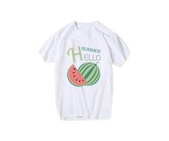 Unisex Fashion HELLO SUMMER Watermelon Print Round Neck Short Sleeve Cotton T-shirt