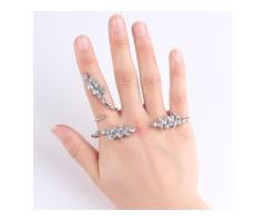 Zircon Alloy Opened Bracelet Knuckle Joint Rings