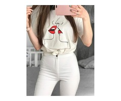 Lips Print T-shirt Round Neck Short Sleeve Solid Color Cotton Tops