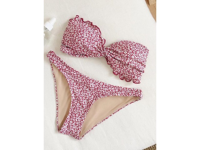 Off Shoulder Floral Pleated Red Bikini Suits | free-classifieds-usa.com