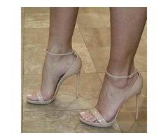 Open Toe Line-Style Buckle Nude Heel Sandals